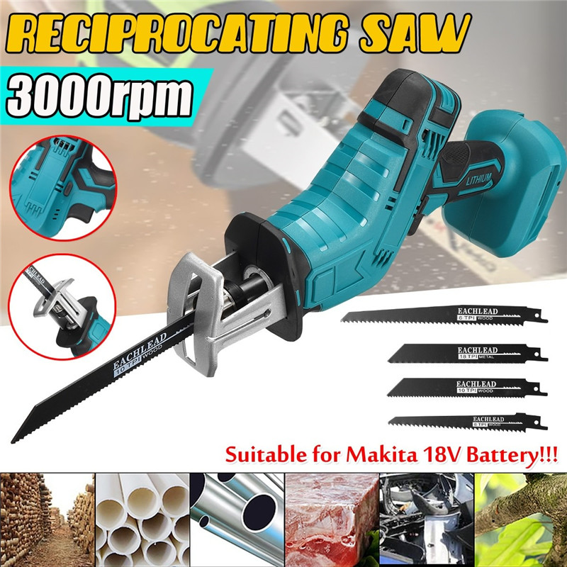 3000rpm Mini Cordless Reciprocating Electric Saw Portable w/ 4 Blades Kit Metal Woodworking Cutting Tool for Makita Battery 18V