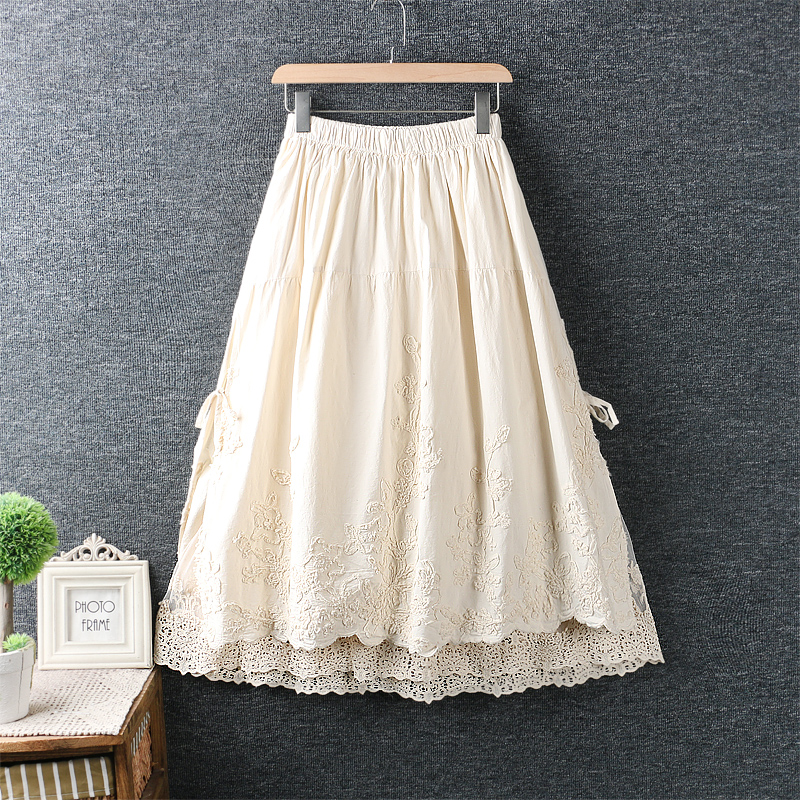 Skirts Womens 2020 Spring Summer Sweet Flower Embroidered Lace Skirt Cotton And Linen Skirt