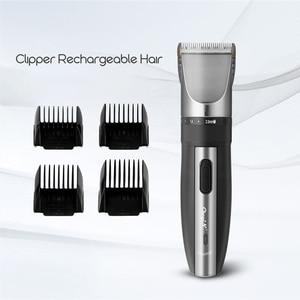 Image 4 - CkeyiN טיטניום קרמיקה להב שיער גוזם נטענת שיער קליפר גברים ילד תספורת שיער סטיילינג כלים נמוך רעש קאטר