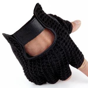 Image 5 - 2018 De Nieuwste Lederen Half Vinger Mesh Ademende Handschoenen Koeienhuid + Gebreide Handschoenen Unisex A149 5