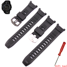 Watch accessories waterproof rubber strap pin buckle for Casio resin strap PRG 130Y/PRW 1500Y series mens mountaineering strap