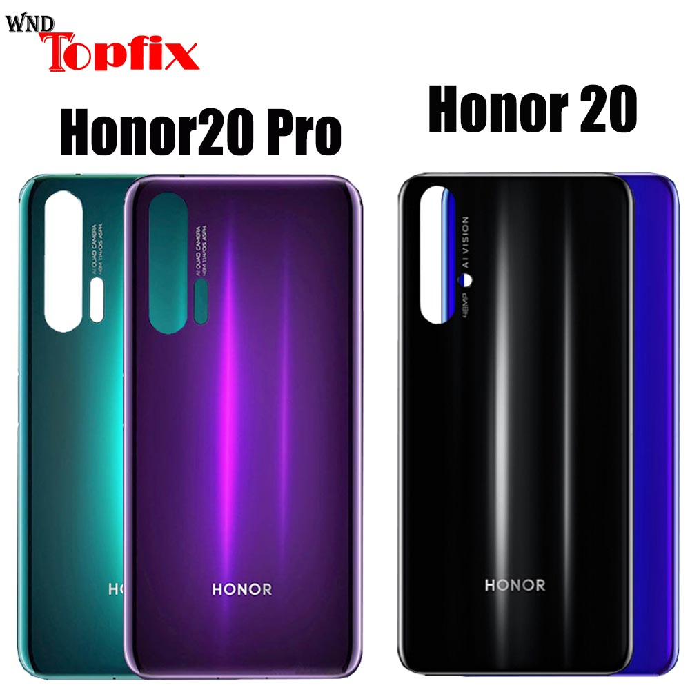 Back Glass For Huawei Honor 20 Pro Battery Cover Rear Panel Door Housing Case + Glue Honor 20 Battery Cover Honor20 Pro Housing