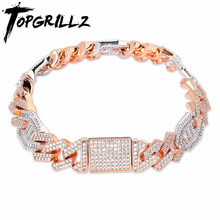 TOPGRILLZ Newest Micro paved Baguette Zircon Cuban Bracelet Iced Out Bling Hip hop Jewelry Gold Silver plate CZ Cuban Chain 14mm