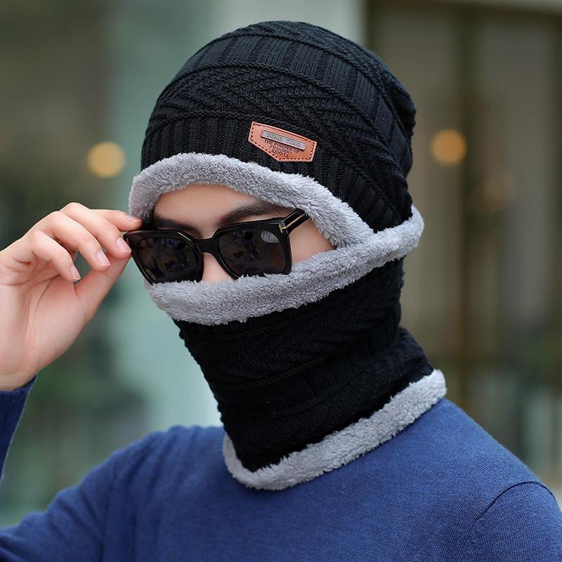 COKK зимние шапки с бархатным воротником для мужчин бини вязаная шапка с шарфом вельветовый утепленный комплект ветрозащитная уличная Зимняя распродажа - Цвет: Black Gray
