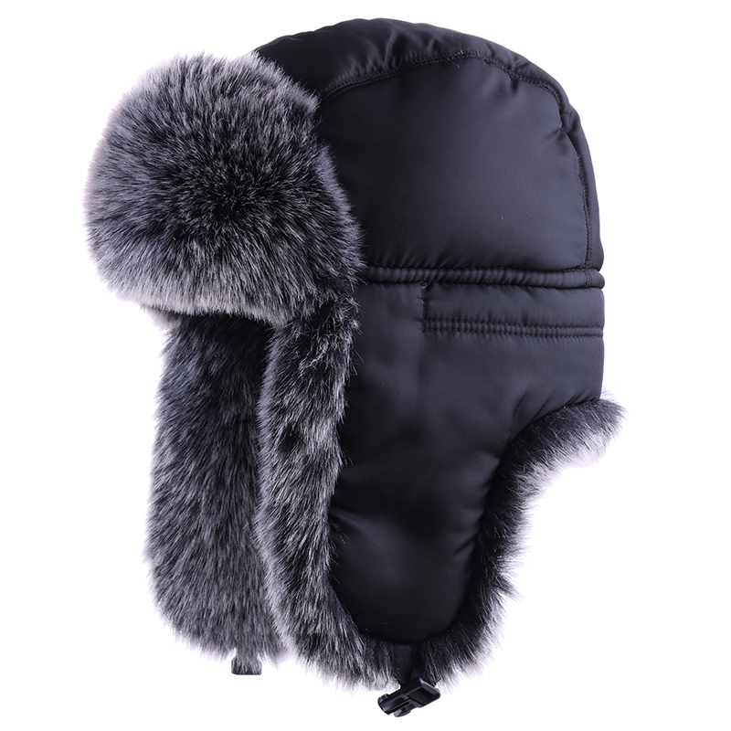 Men's Bomber Hat Cotton Winter Hat Russian Ushanka Faux Fox Fur Ear Flaps Pilot Trapper Trooper Outdoor Thermal Ski Snow Caps