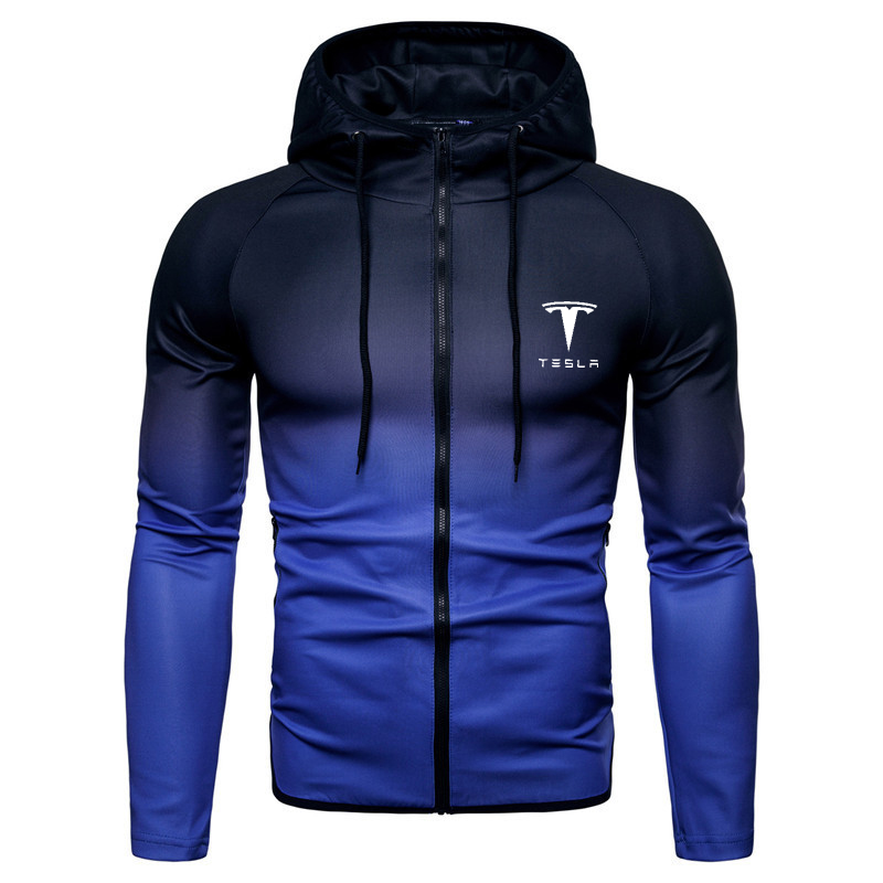 Spring Autumn Zipper Jacket Hoodies Tesla Car Print Logo Gradient Clothes Fleece Long Sleeve Hoodie Men Women Sweatshirts Hoody