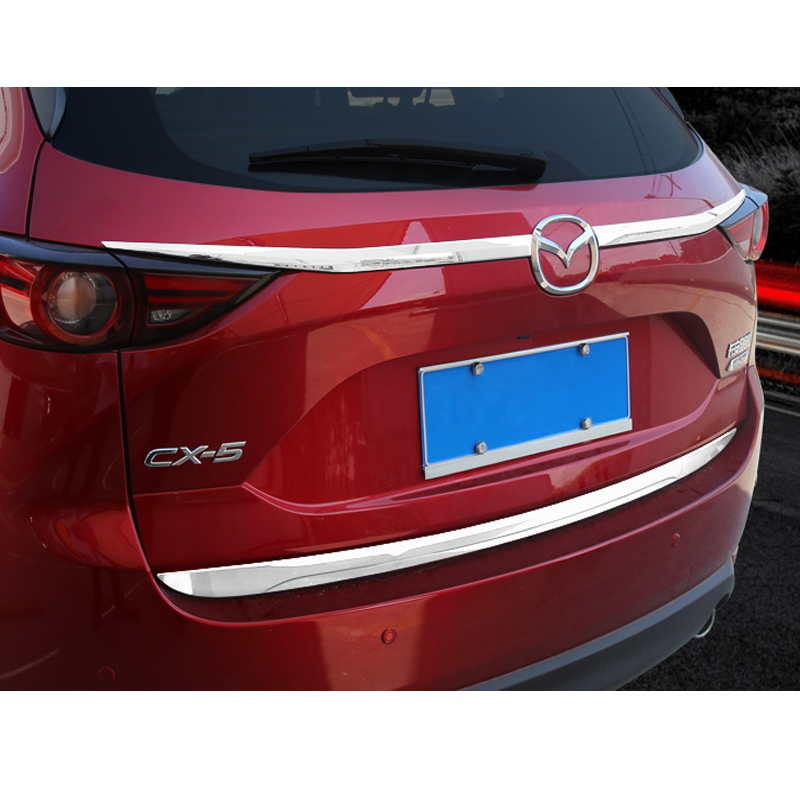 3PCS ABS Plastic Trunk Lid Cover Rear Door Moulding Trim Garnish For 2017 2018 <font><b>2019</b></font> <font><b>Mazda</b></font> CX-5 <font><b>CX5</b></font> CX 5 car <font><b>accessories</b></font> styling image