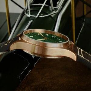 Image 5 - San MartinนาฬิกาBronze Mechanical Pilotนาฬิกาผู้ชายส่องสว่างสายหนังกันน้ำ