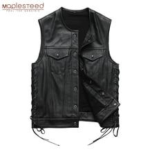 Men Leather Vest 100% Cowhide Motorcycle Vest Biker Leather Vests Moto Leather Waistcoat Asian Size M-5XL M435