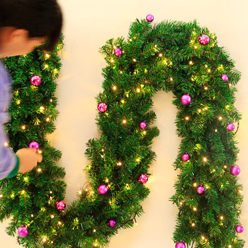 2 7m Artificial Green Pin Christmas Garland Wreath Hanging Ornament Glitter with Fake Flowers Balls Xmas Trees Wedding Decor Par in Pendant Drop Ornaments from Home Garden