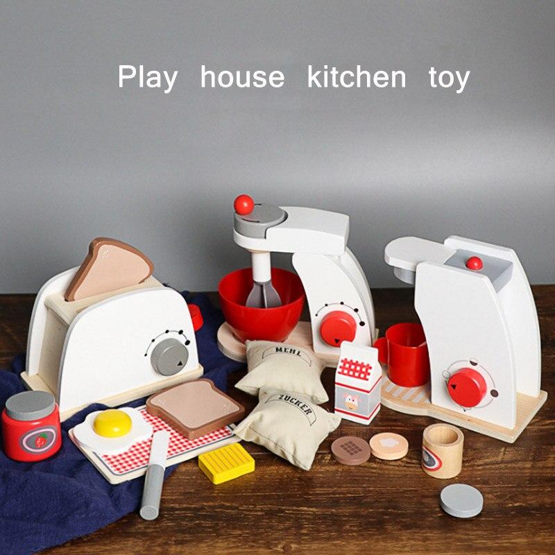 Детский набор, кухонные ролевые игрушки, деревянные ролевые игры, игровые наборы, Имитационные тостеры, хлебопечка, Кофеварка, машина, блендер, игрушки для выпечки, подарок