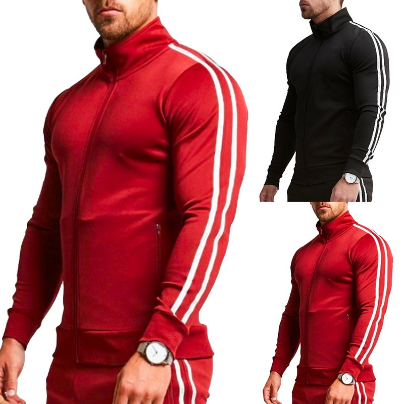 Autumn New Jogging Sweatshirts Men Sports Fitness Long Sleeves Striped Zipper Hoodies 2019 Casual Solid Slim Jogger Gym Top Male