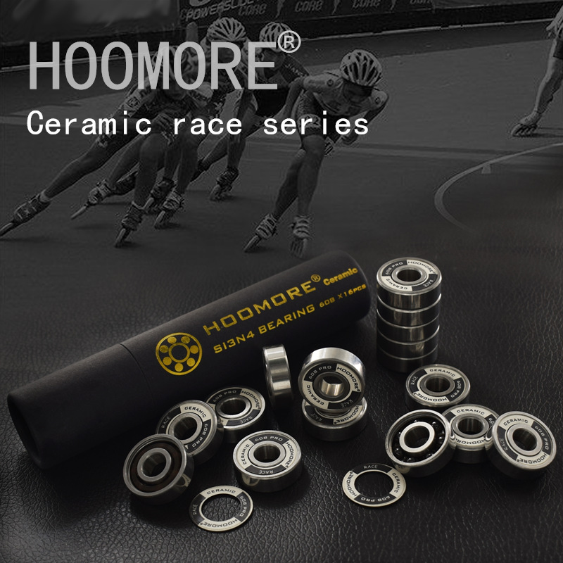 HOOMORE Branded Si3N4 Ceramic Speed Bearing For Inline Speed Skates Shoes Professional Race 608RS 7 Beads Black Ceramic 16 Pcs