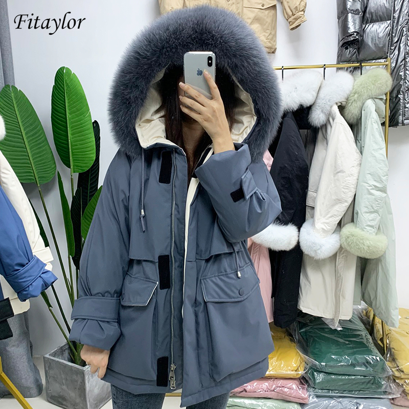 Fitaylor Winter Women White Duck Down Jacket Real Fox Fur Hooded Snow Thick Parkas Warm Down Coat Waterproof Overcoat