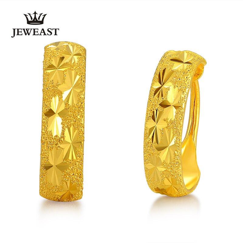JLZB 24K or pur boucle doreille réel AU 999 boucles doreilles en or massif belle gypsophile haut de gamme classique Fine bijoux vente chaude nouveau 2020