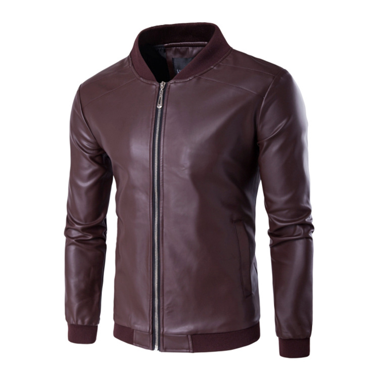 Top Grade Men'S Wear Plus-sized Fat Leather Coat Hot Selling Men's PU Leather Jacket Baseball Leather Jacket 4 Color Options