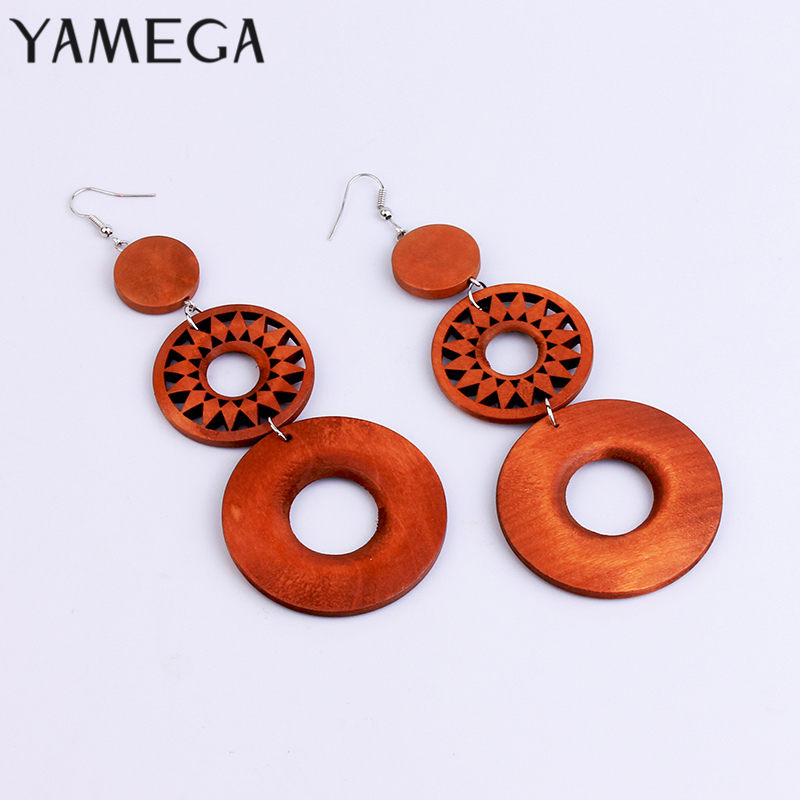 YAMEGA Natural Wooden Earrings Dangle Brown Statement Hoops Long Drop African Earrings For Women Lady Girls Boho Jewelry Gifts