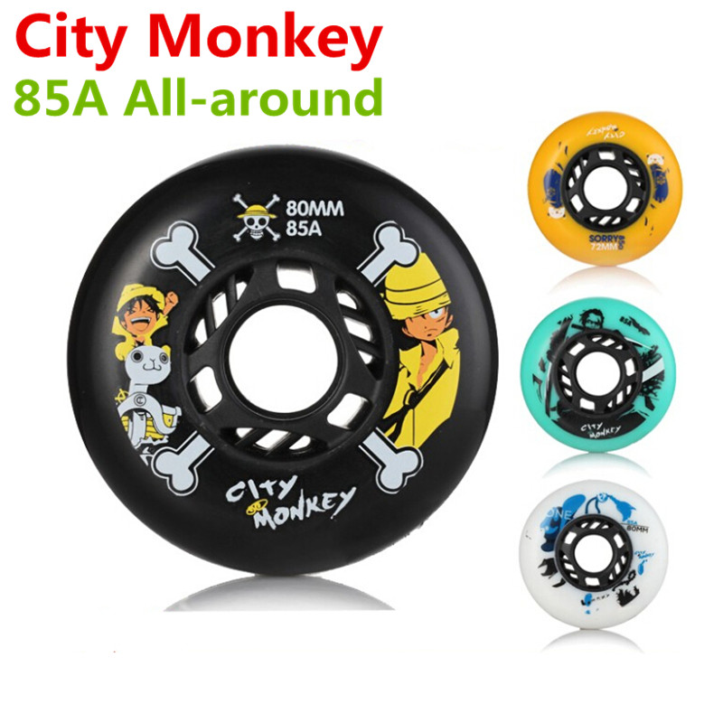 [72mm 76mm 80mm] Original City Monkey 85A Slalom&braking Roller ,all-round Universal FSK Inline Skates Wheel Multi-purpose