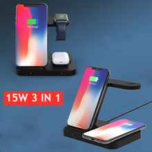 15W Qi Wireless Charger Dock Station 3 in 1 For iPhone 11 XS XR X 8 Airpods Pro USB Fast Charging Stand For Apple Watch 5 4 3 2
