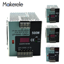 DC 12V 24V 48V Regulated Switching Power Supply AC/DC 500W Power Supply Digital Display Din Rail Single Output Mini Adjustable advantages mean well hrpg 200 48 48v 4 3a meanwell hrpg 200 48v 206 4w single output with pfc function power supply [real1]
