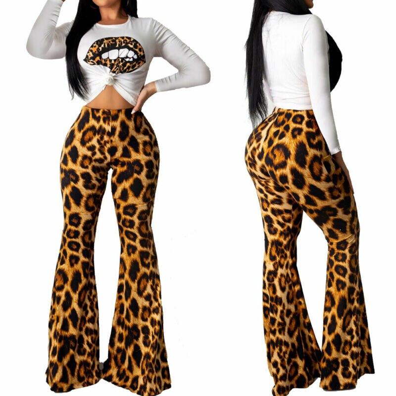 2PC Women Short Sleeve Tops Long Leopard Print Boot-cut Pants Set Casual Outfits