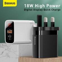 Baseus 18w carregador usb viagem uk plug carga rápida para ip para samsung para huawei para xiaomi 3.0 carregador rápido telefone carregador de parede