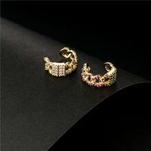 2021 nova moda cz orelha cuff bohemia empilhável c em forma de zircônia cúbica pequenos brincos clipe para jóias de casamento feminino