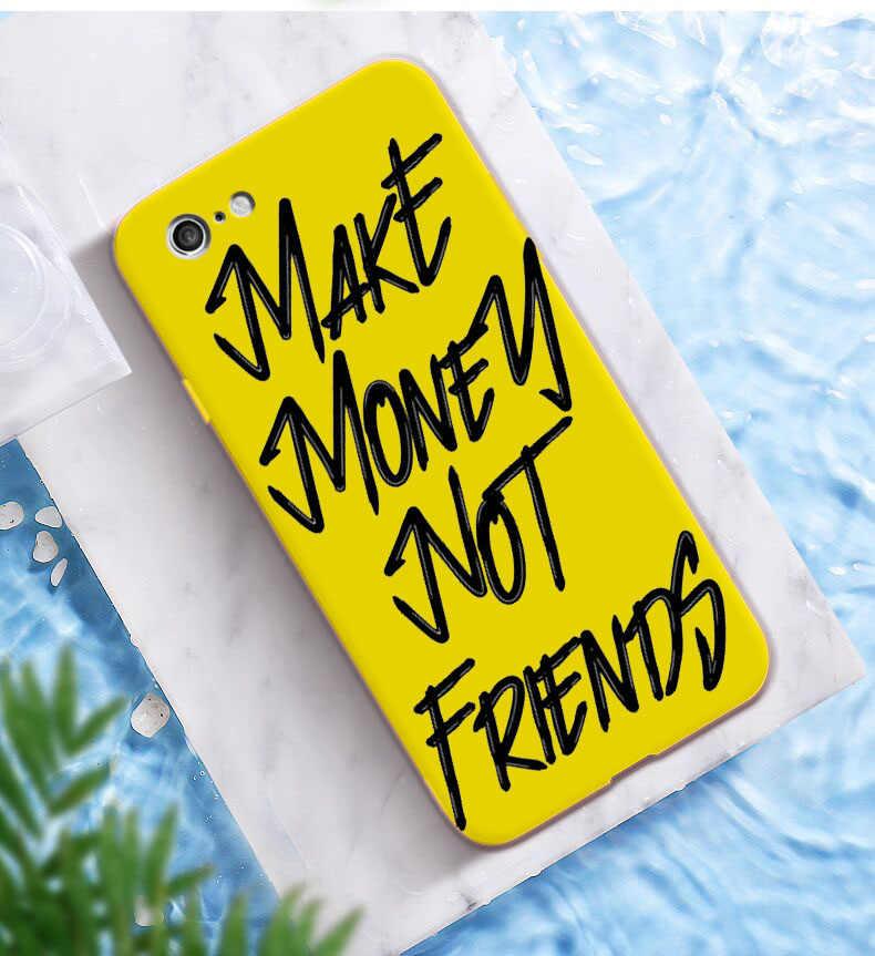 Membuat Uang Bukan Teman Kash Afro Gadis Hitam Fundas Phone Case untuk iPhone X XR X MAX 8 7 6 S Plus Permen Kuning Silikon