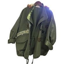 2019 Oversize Cotton Jacket Women Loose Outerwear Spring Autumn Embroidery Rivet