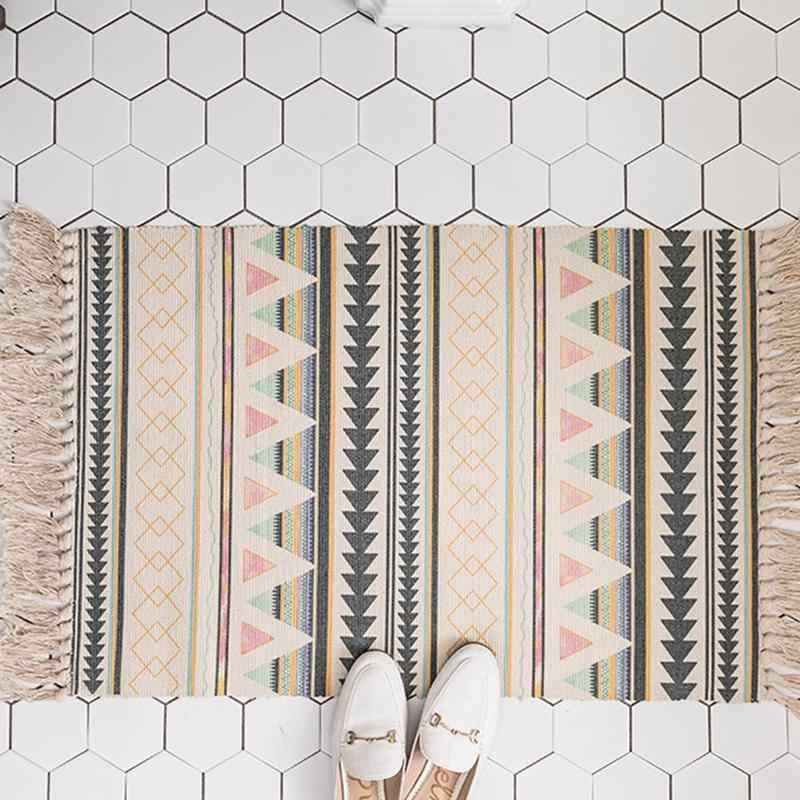 1 個綿床マットドアリネンタッセル織カーペット寝室タペストリー装飾毛布リビングルームカーペットエリアラグ