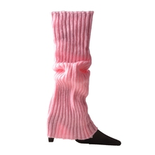 Women Halloween 80s Neon Colored Knit Leg Warmers Ribbed Bright Footless Socks N58F