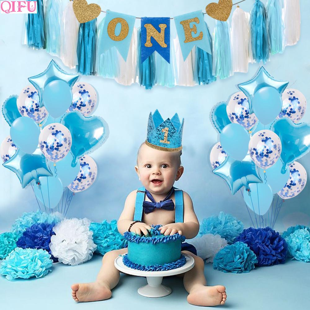 1st aniversário menino menina aniversário balões decoração 1 primeiro aniversário decoração da festa crianças um ano bebê chuveiro decoração menino babyshower