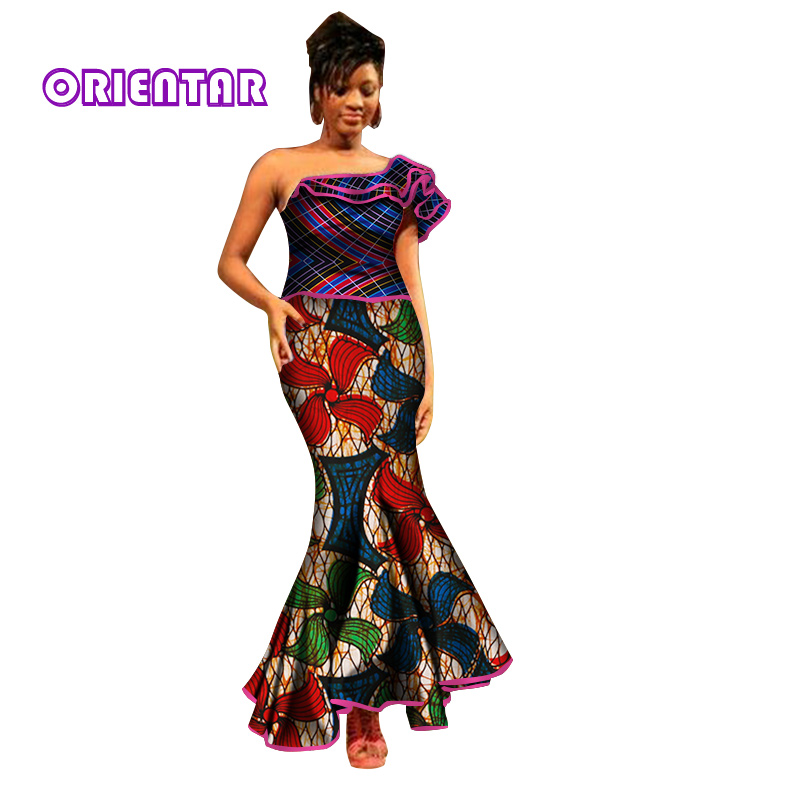 Women African Dress African Traditional Clothing Bazin African Print Dresses For Women Lady One-Shoulder Bodycorn Dress WY2785