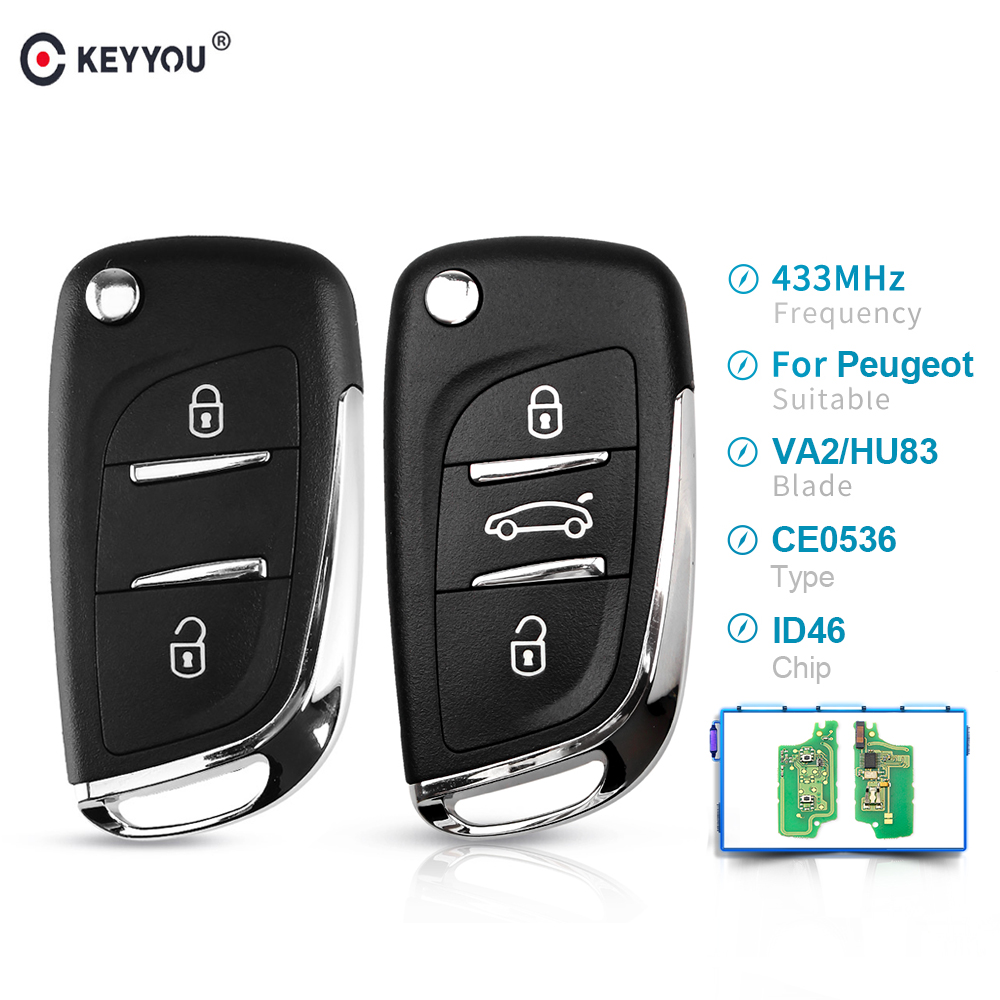 KEYYOU CE0536 2/3 Buttons 433MHZ Modified Filp Car <font><b>Remote</b></font> Control <font><b>Key</b></font> For For <font><b>Peugeot</b></font> 207 <font><b>208</b></font> 307 2005-2011 ASK <font><b>Key</b></font> HU83/VA2 image
