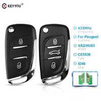 KEYYOU CE0536 2/3 boutons 433MHZ modifié Filp voiture télécommande clé pour Peugeot 207 208 307 2005-2011 ASK Key HU83/VA2