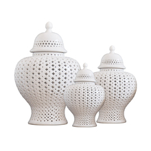 White Ceramic Ginger Jar Vase Ornament Fashion Home Decoration Craft Decoration Hollow Vase Home Craft Gift
