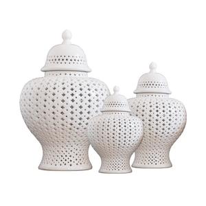 White Ceramic Ginger Jar Vase Ornament Fashion Home Decoration Craft Decoration Hollow Vase Home Craft Gift(China)