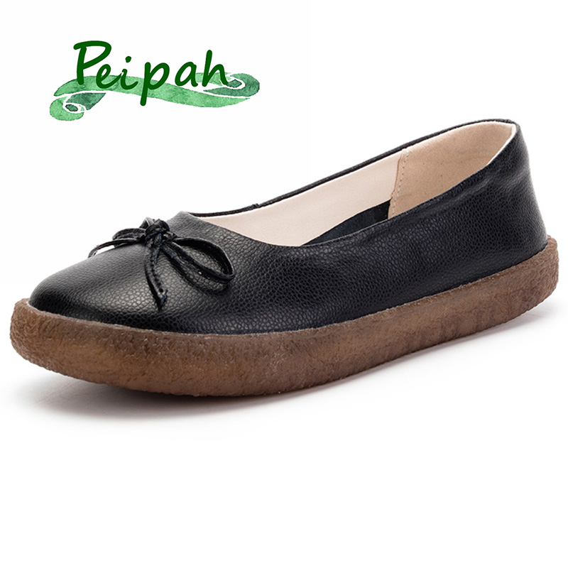 PEIPAH 2019 Designer Genuine Leather Women Slip On Shoes Women's Flats Basic Butterfly-knot Casual Soft Bottom Women Shoes