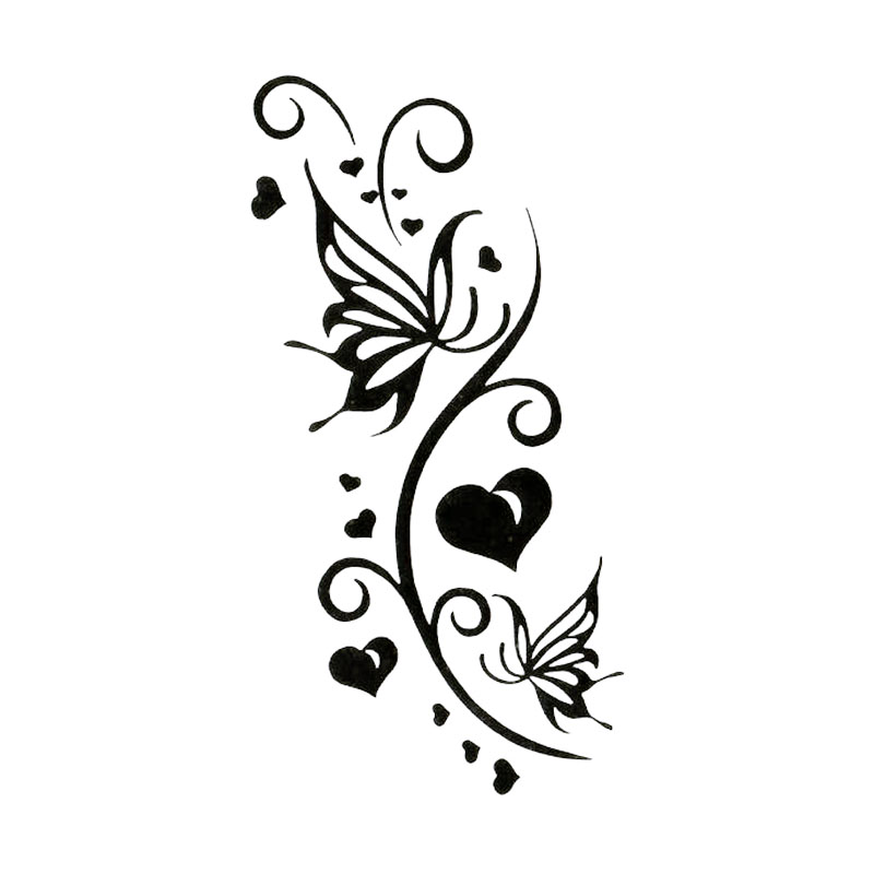 Черная бумажная резка бабочка сердце тату ручная татуировка тело водонепроницаемый Временная вспышка fakeTattoo наклейка маленькая татуировка