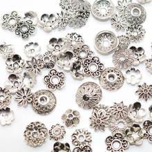 50-100 pces metal talão tampões encantos para descobertas de jóias liga tamanho misto tibetano prata chapeado flor contas de ouro tampas de extremidade