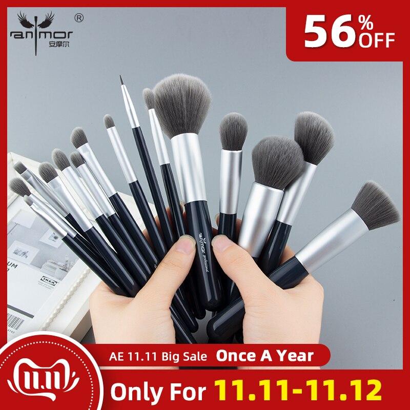 Anmor New Make Up Brushes Set 15 PCS Cabelo Sintético Pincéis de Maquiagem Profissional Fundação Blush Em Pó Sombra Jogo de Escova