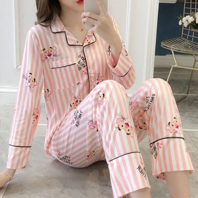 Dihope 2020Autumn Long Sleeved Women Pajamas Set Lovely Print HomeWear Leisure Clothes Women Long Pant Pyjamas Sets Nightwear