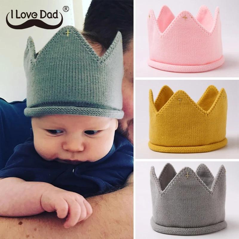 Fashion Newborn Cute Toddler Infant Kids Baby Boys Girls Crown Knit Headband Hat