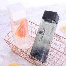 Botella de agua de plástico transparente botella cuadrada portátil jugo de fruta a prueba de fugas de deporte al aire libre viajes senderismo Camping botella Dropsh