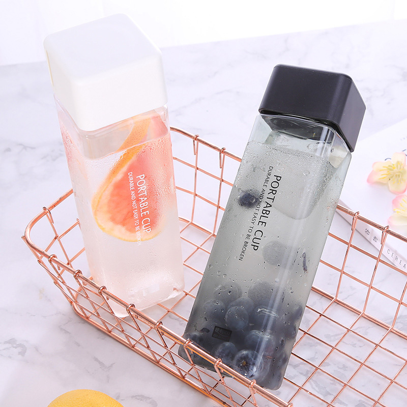 Transparent Plastic Water Bottle Portable Square Bottle Fruit Juice Leak-proof Outdoor Sport Travel Hiking Camping Bottle Dropsh image