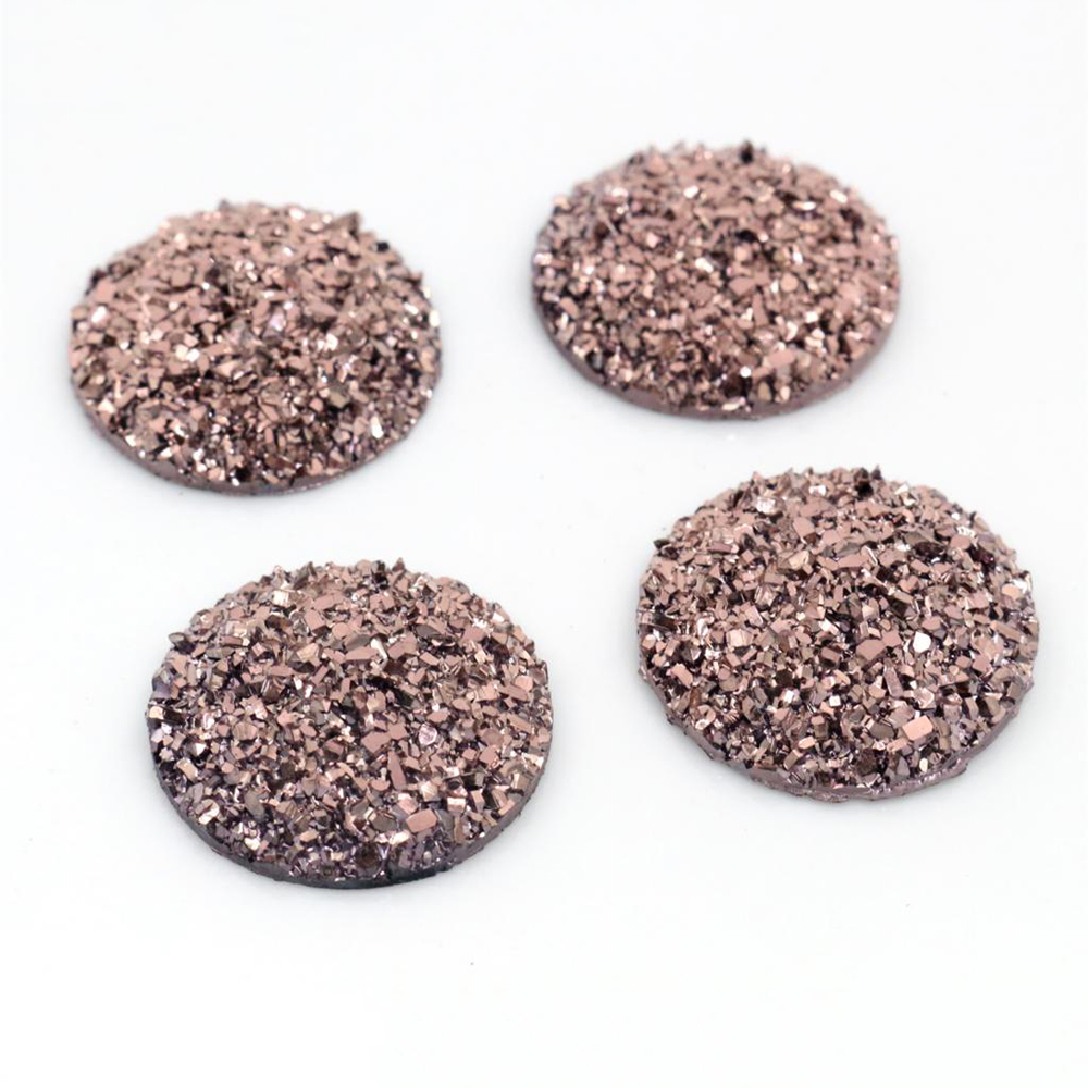 New Fashion 10pcs 25mm Rose Gold Colors Natural Ore Style Flat Back Resin Cabochons For Cameo Base Accessories-V3-14
