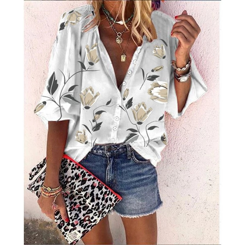 Spring Women Blouse Solid Color Floral Printed Sexy Deep V-Neck Lady Shirts Single Breasted Casual Female Clothes 2021 Mujer Top