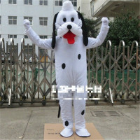 2019 White Costume Cute Dog Mascot Parade Outfits Cartoon Cosplay Adult Dress Apparel Cartoon Character Birthday Clothes Gift