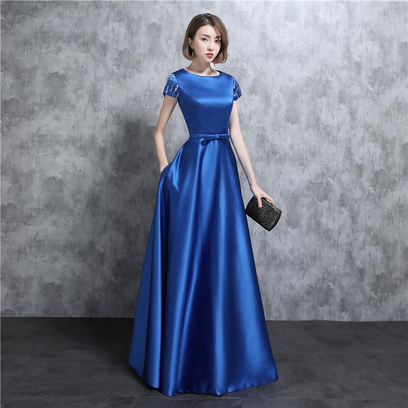 Blue Bridesmaid Dresses Vestidos De Noiva 2020 Scoop Cap Sleeve A Line Bridal Gown Bow Zipper Back Design
