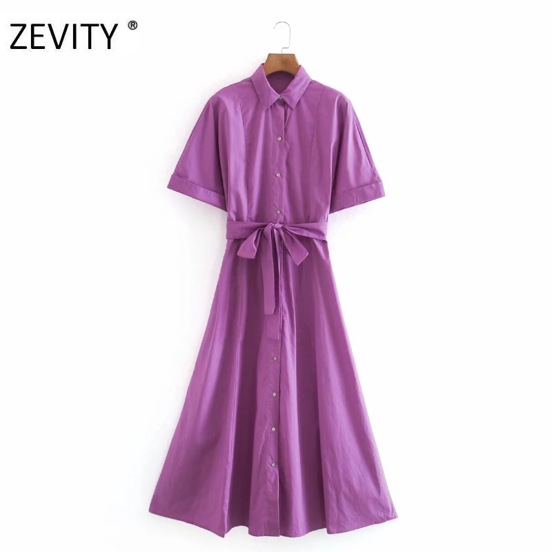 ZEVITY New Women fashion solid color bow sahses shirt Dress Office Lady short sleeve casual business Vestido Chic Dresses DS4229